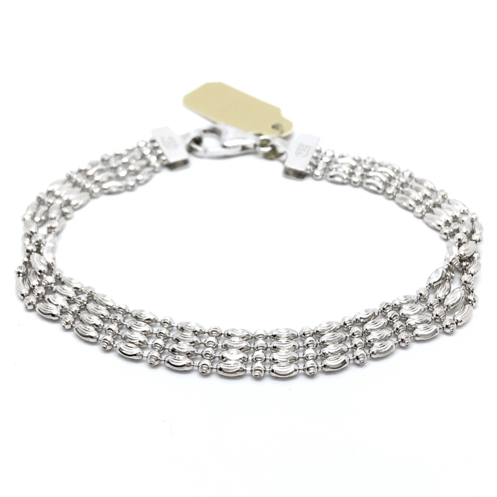18K Solid White gold 4 Strands Beads Bracelet