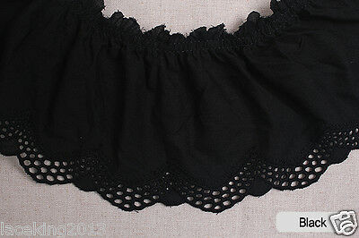 """1yds Embroidery scalloped gathered cotton lace trim 4.3""""  11cm YH1415a laceking"""