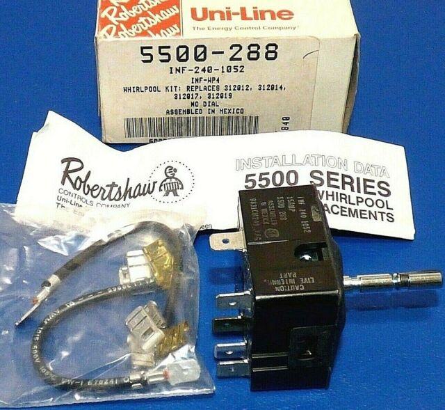 OEM Robertshaw 5500-202 Universal Infinite Switch No Push to Turn 240V 15A CWOff