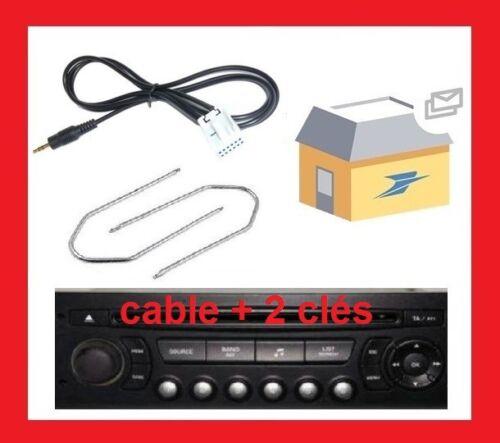 CABLE AUXILIAIRE MP3 CITROEN C2 C3 C4 C5 C6 DS3 DS4 Cles extraction