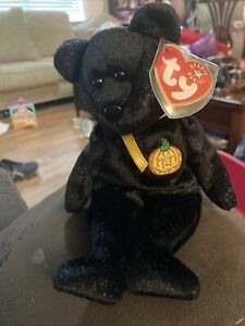 Ty Beanie Babies HAUNT Halloween Bear Black Sparkly With Protected Heart Tag