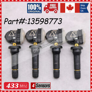 433MHz Set of 4 Tire Pressure Sensor TPMS For GM Buick Chevy Cadillac 13598773