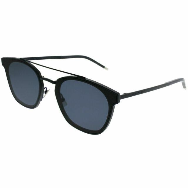 5aeda7c1cd6 Saint Laurent SL 28TMetal 002 Blue Plastic Rectangle Sunglasses Blue Lens