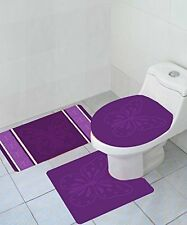 Butterfly 3 Piece High Pile Bathroom Set With Bath Mat Rug & Lid Cover Purple