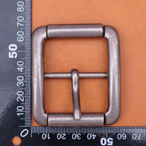 Heavy Strong Rectangular Antique Center Bar Pin Roller Belt Buckle Fit 41mm Belt