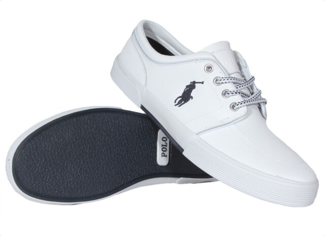 880915ef83ed4 Polo Ralph Lauren Men s Leather Shoes Faxon Low White 816527220002 Medium  (D