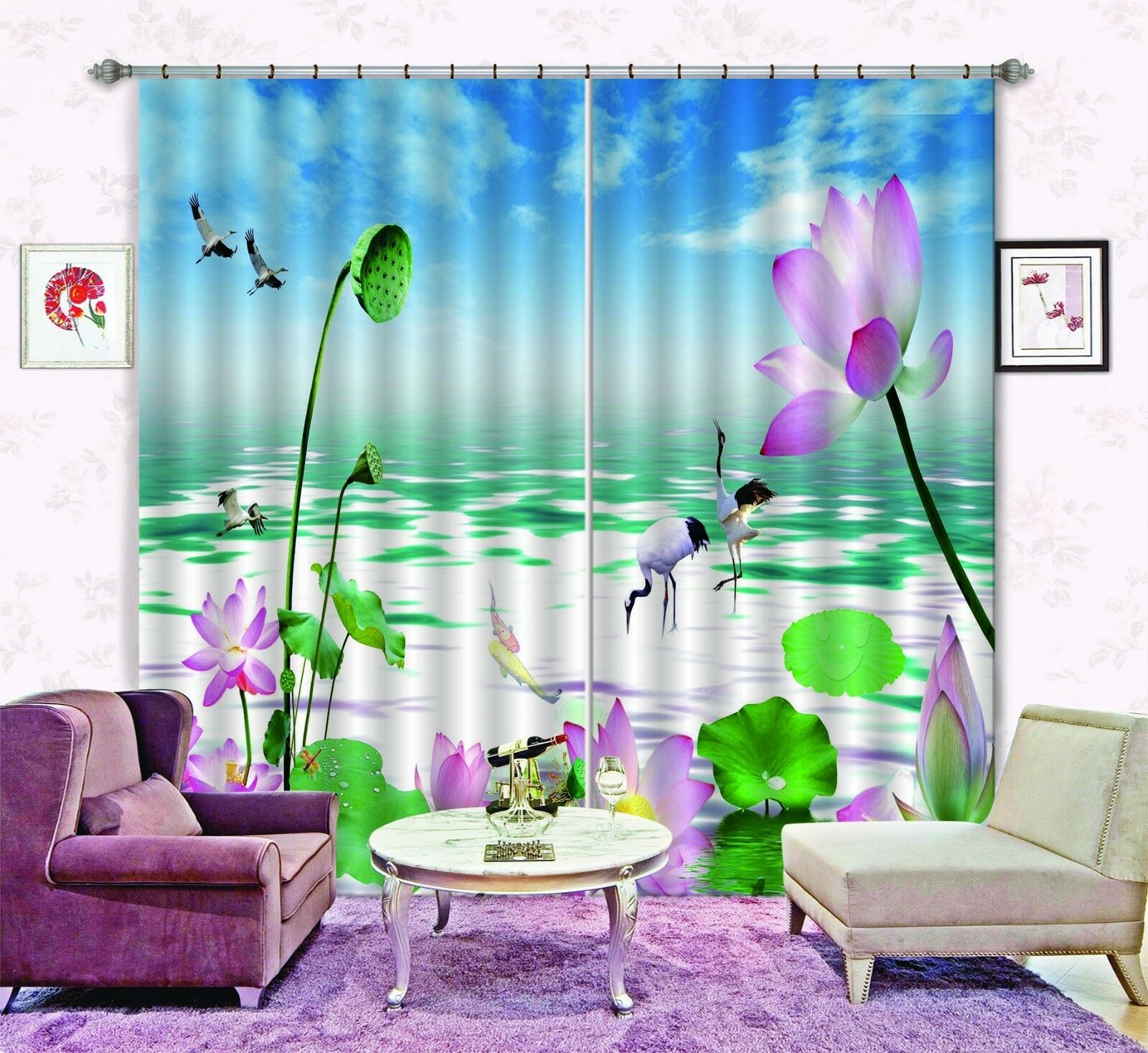3D Lotus sky 35 Blockout Photo Curtain Printing Curtains Drapes Fabric Window AU