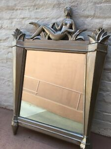 Vintage Art Nouveau Mirror With Naked  Lady
