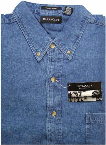 Big /& Tall Men/'s UltraClub Cypress Denim Shirt 2XLT 3XL 4XL 5XL 6XL