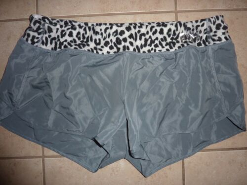 VICTORIAS SECRET PINK BLING LEOPARD RUNNING SHORTS WITH LINER AND ZIP POCKET NWT
