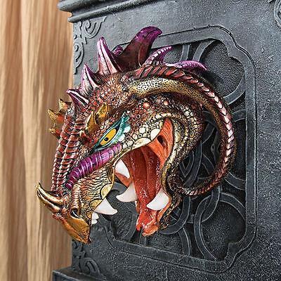 Menacing Monstrous Wall Mounted Iridescent Dragon Head Wall Sculpture  Trophy NEW | eBay