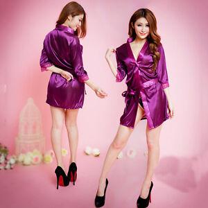 Details About Nightwear Kimono Sexy Nightwear Silk Satin Lace Dressing Gown Bath Robe