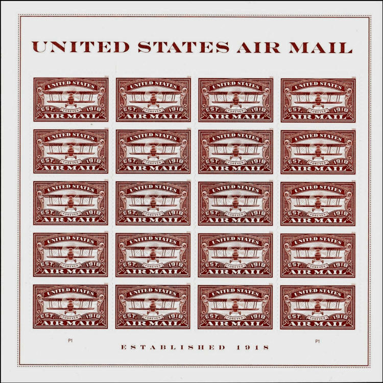 2018 50c United States Air Mail, Red, Forever Sheet of
