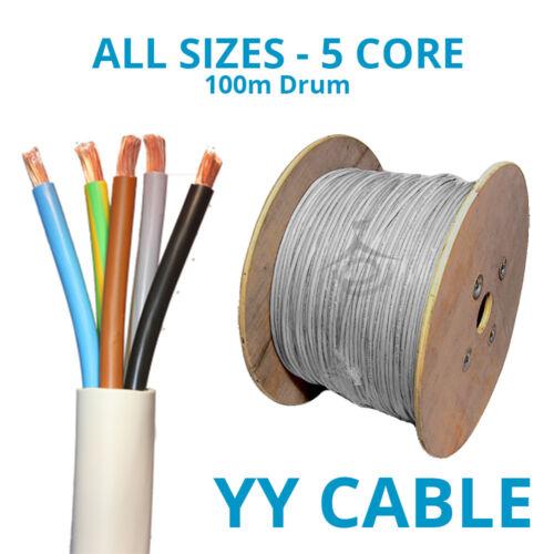 Toutes tailles 5 Core AA flexible câble de commande 0.75mm-6mm Gris Flex 100 m Tambour PVC