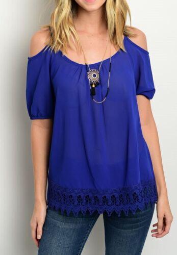 Black or Blue Off Open Shoulder Cami Crochet Trim Hem Short Sleeve Blouse Top