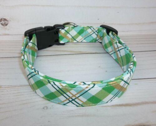 Boys Green Gold White Plaid Terri/'s Dog Collar custom made adjustable Spring