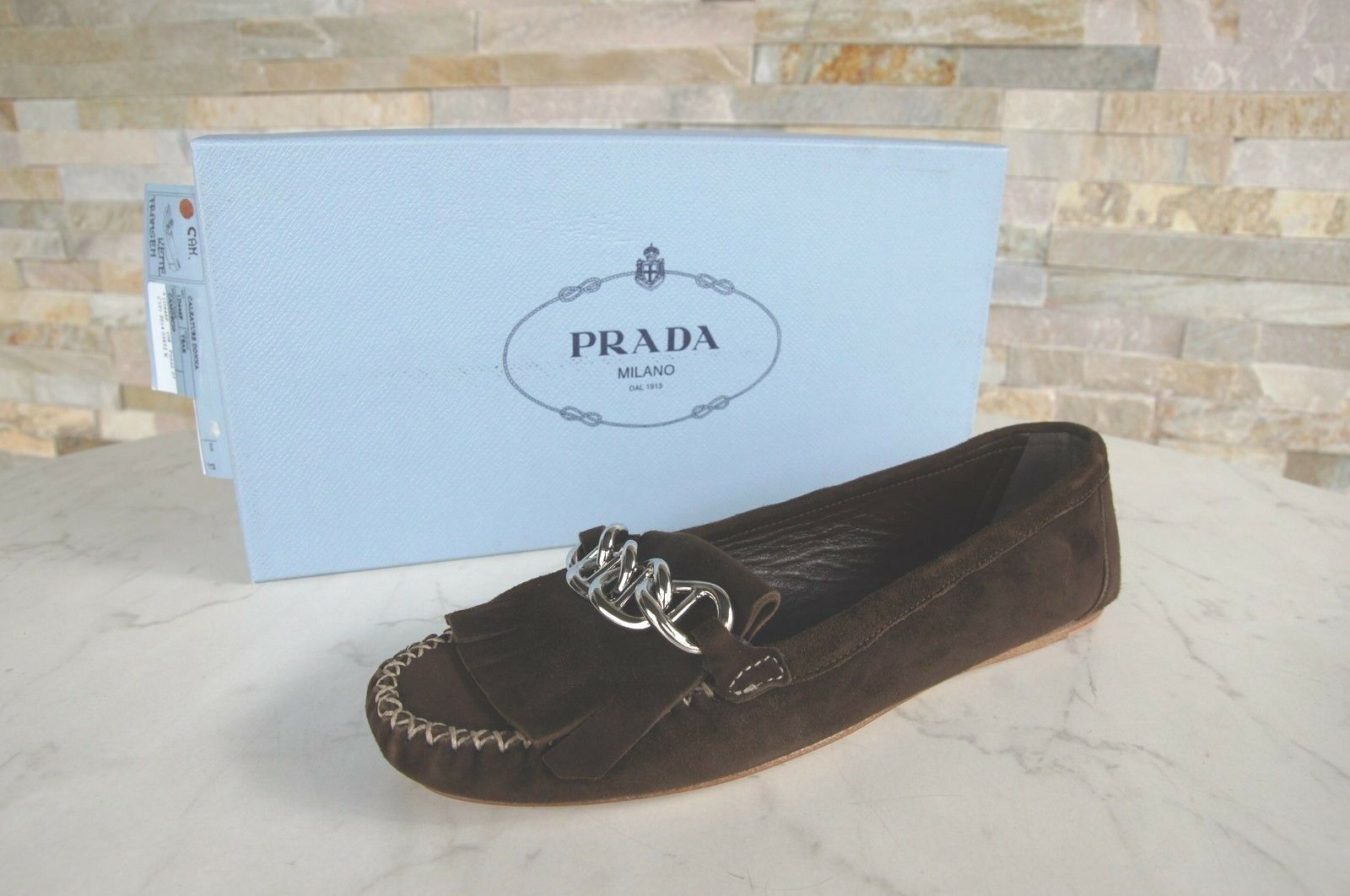 PRADA Talla 39 Loafers Slip On Moccasins zapatos Fringed marrón formerly   NEW