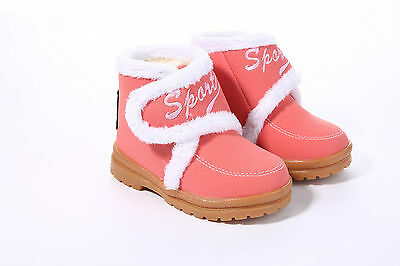 Child Toddlers Infant Winter Snow Boot with Fur Ankle Boots Kids Shoes Strap