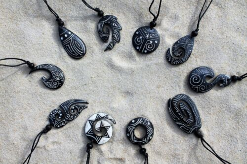 10 MIX DESIGN MAORI STYLE SYMBOLIC CARVED NECKLACES BLACK WHOLESALE PRICE //nBBS4