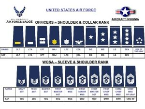Genuine-USA-Air-Force-USAF-Rank-Slide-Epaulettes-Male-Female-Various-1-Pair-NEW