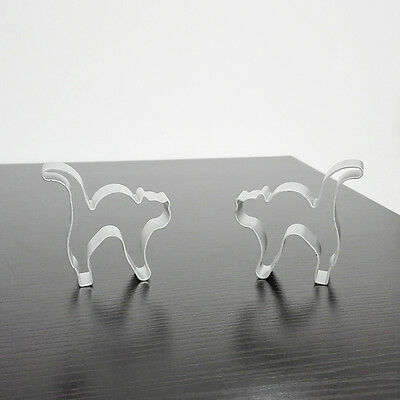 """2x HALLOWEEN CAT 3"""" METAL COOKIE CUTTER FONDANT STENCIL SPOOKY PARTY FAVOR SCARY"""