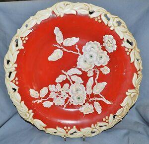 Piatti-ornamentali-fasto-piatto-Roloff-Munster-fiori-Ramo-fondo-rosso-episodico-34-cm