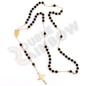 Men-Stainless-Steel-Virgin-Mary-Rosary-Jesus-Cross-Pendant-Rubber-Necklace