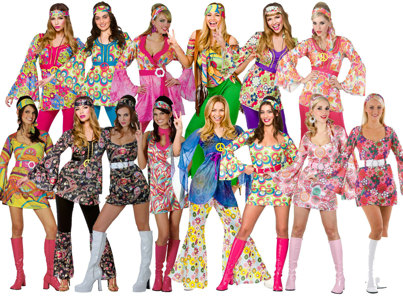 Hippie Fiore Per Capelli Clip Hippy 60s 70s Mod Retrò Vintage Classic Costume