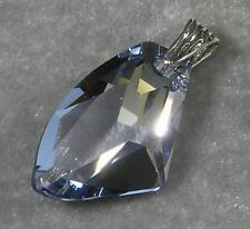 Avilagems Large Swarovski Crystal Blue Shade .925 Sterling Silver Pendant