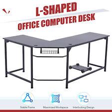 L Shaped Home Office Desk W Tower Shelf Cable Management 66x19 47x19 Black