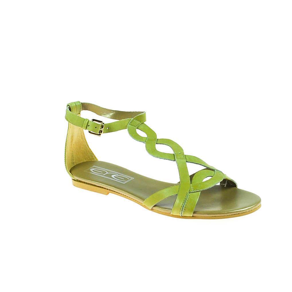 EYE Damen Sandale Leder Dunkelgrün