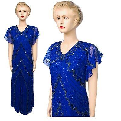 Nuovo Donna Royal Blu Paillettes Perline Vintage Abito Lungo Da Sera Taglie 24 A 30-mostra Il Titolo Originale