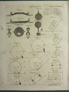 1797 GEORGIAN PRINT ~ MECHANICS ~ VARIOUS DIAGRAMS PULLEYS