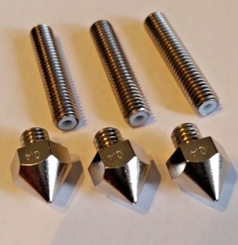 ** USA STOCK ** 3-PK Fits Mk8 Mk9 Anet a6 /& a8 0.4mm 3D Nozzle and tubes