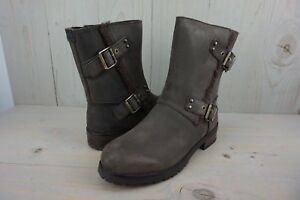 fc1a17959f1 Details about UGG NIELS 1018607 STOUT LEATHER WATER RESISTANT MOTO BOOTS  WOMENS US 8.5 NIB
