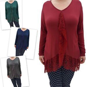 Wolfairy-Women-039-s-Lagenlook-Tunic-Top-Kaftan-Italian-New-Lace-Hem-Plus-Size