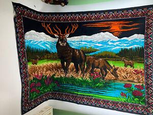 Vintage-Velvet-Tapestry-Rug-Wall-Hanging-Elk-Deer-Wildlife-Mountain-60-X39