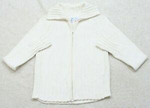 Smudge-White-Cardigan-Sweater-Long-Sleeve-Women-039-s-Size-Medium-Ramie-Cotton-Top