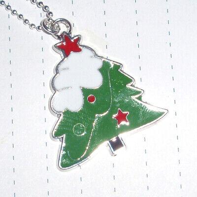 Kitsch Kawaii Enamel Christmas Tree Charm necklace