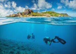 A1-Seychelles-Scuba-Poster-Art-Print-60-x-90cm-180gsm-Dive-Diver-Fun-Gift-16440