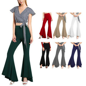 39a9b591702a7 Details about Women 70s Bell Bottoms Wide Leg Pants Palazzo Pant Boho  Hippie Flare OL Trousers