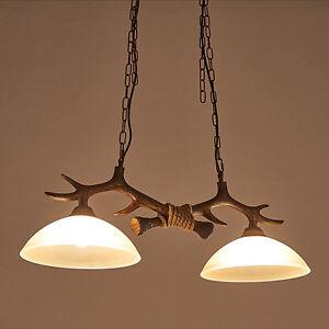 Details About Vintage Chandelier Pendant Lamp Deer Horn Resin 2lights Antler Ceiling Light