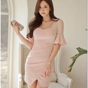 the latest 09735 00332 Dettagli su Elegante raffinato vestito abito tubino donna rosa cipria  aderente slim 3468
