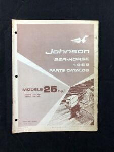 1969 JOHNSON OMC PARTS CATALOG LIST MANUAL 25 HP MODELS P/N 383869 DEALER