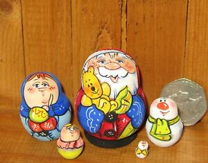 Nesting-Russian-Dolls-Matryoshka-tiny-5-Father-Christmas-Santa-Frost-Snowman
