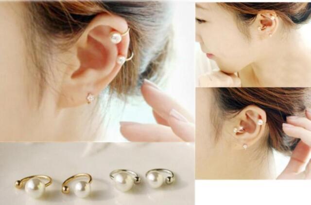 Celebrity Fashion Exquisite U Shape Pearl Ear Clip Wrap Cuff Earring 2pcs/Set HC