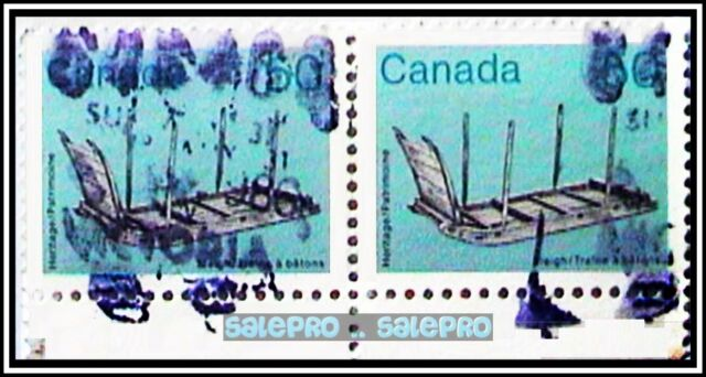 2x CANADA 1985 ARTIFACTS WOODEN SLEIGH FV $1 SE-TENANT FANCY VICTORIA STAMP LOT