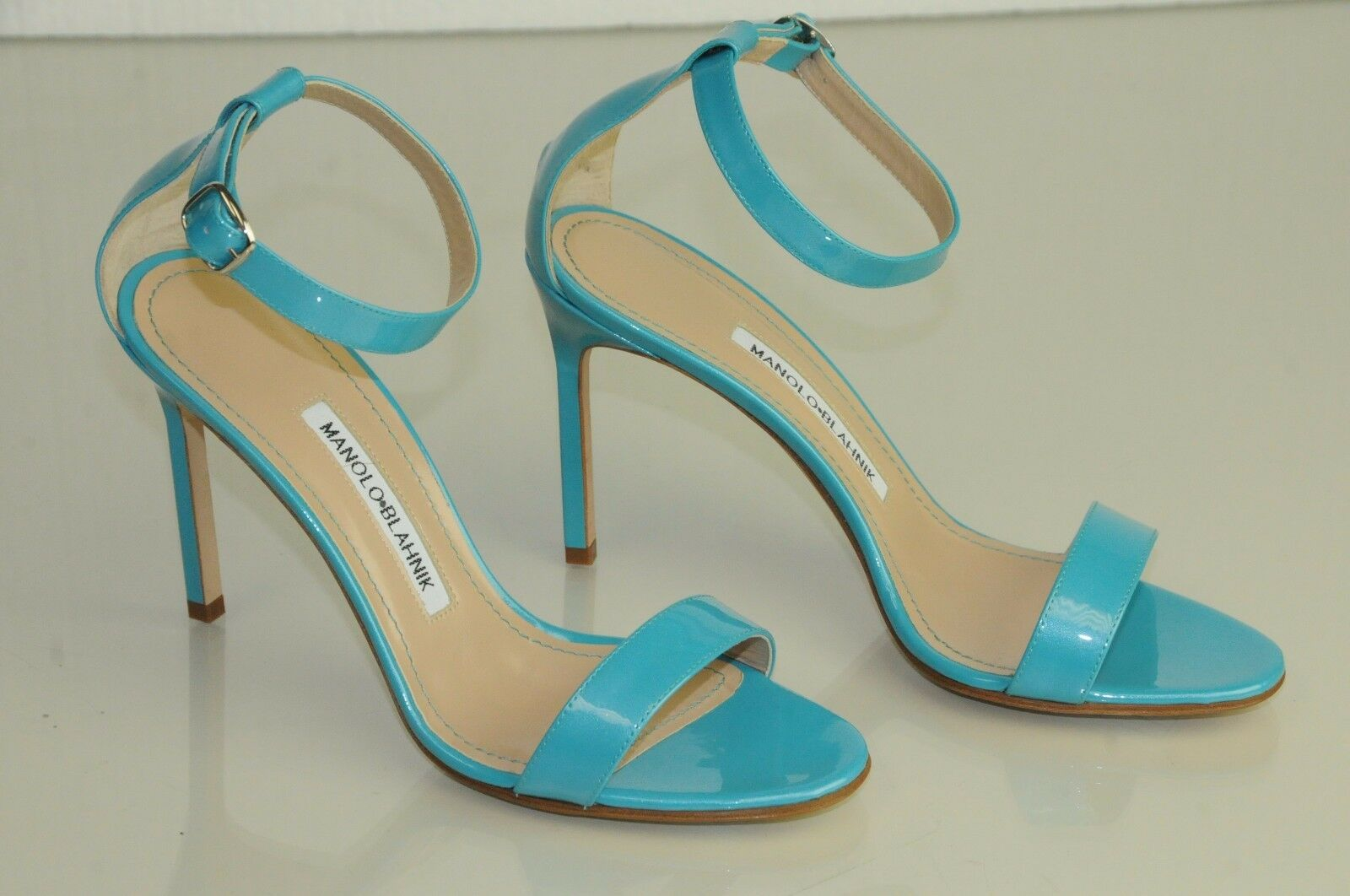 745 New Manolo Blahnik CHAOS Pearly Turquoise patent leather Sandals shoes 37