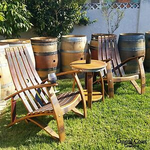 Image Is Loading WINE BARREL Stave Relax ADIRONDACK CHAIR SET Rustic