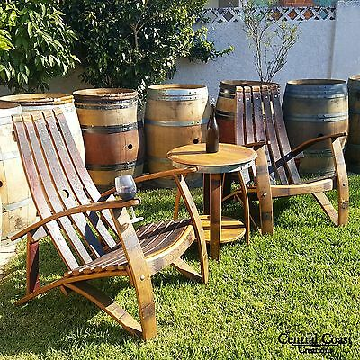 Wine Barrel Stave Relax Adirondack Chair Set Rustic Patio Furniture